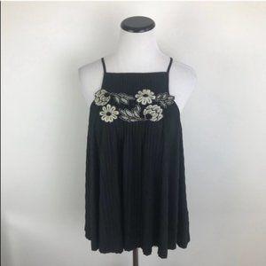 Anthropologie Deletta Flowy Floral Top Black